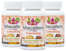 3-month Fertility Starter Pack: 3 bottles of Macafem Conceiving, 100 tablets each.